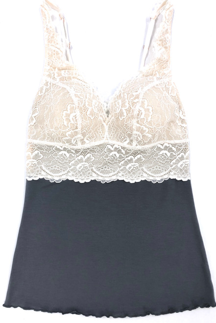 HOME APPAREL BUILT UP CAMI SLATE W/ IVORY LACE
