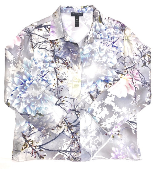 CLASSIC SILK CROPPED PJ SHIRT PRINTED LOVE LETTER