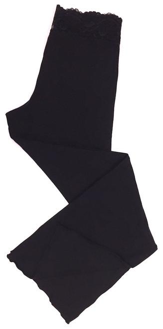 HOME APPAREL FULL LENGTH LACE WAIST PANT BLACK W/ BLACK LACE