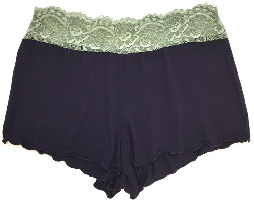 HOME APPAREL LACE WAIST SHORTIE DEEP BLUE W/ PACIFIC GREEN LACE