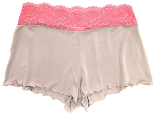 HOME APPAREL LACE WAIST SHORTIE OATMEAL W/ CORAL LACE