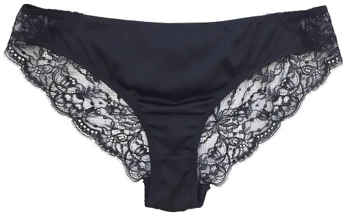 SILK WITH LEAVERS LACE ELOISE BRIEF BLACK