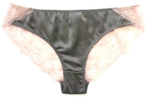 SILK WITH LEAVERS LACE ELOISE BRIEF PEWTER