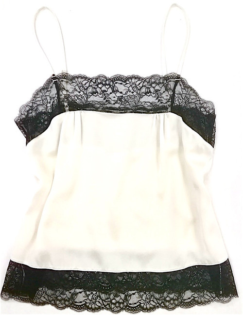 SILK WITH LEAVERS LACE PIA UNDERPINNING VANILLA