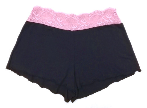 HOME APPAREL LACE WAIST SHORTIE DEEP BLUE W/ CANDY LACE