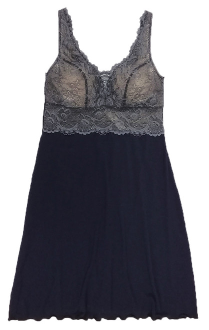 HOME APPAREL BUILT UP CHEMISE DEEP BLUE W/ STEEL LACE