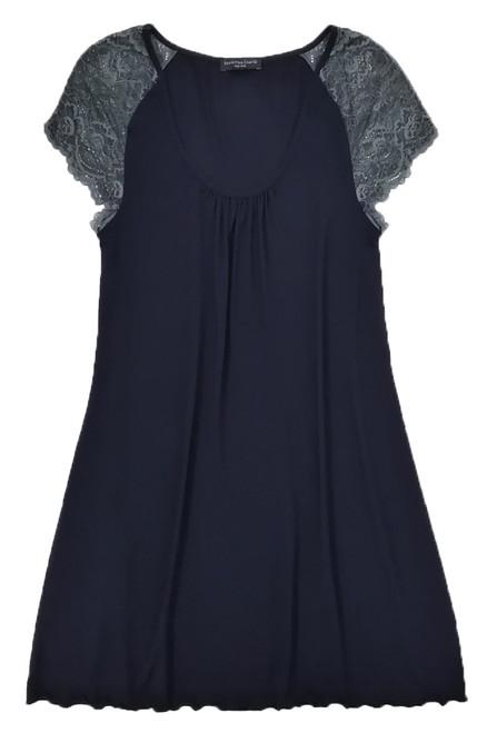 HOME APPAREL CAP SLEEVE NIGHT DRESS DEEP BLUE W/ STEEL LACE