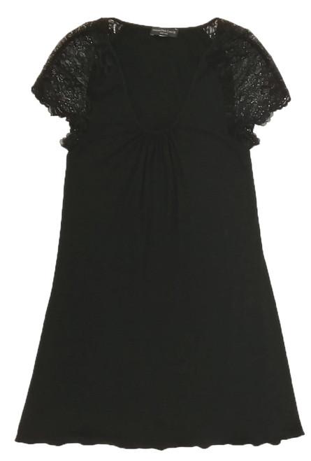 HOME APPAREL CAP SLEEVE NIGHT DRESS BLACK W/ BLACK LACE