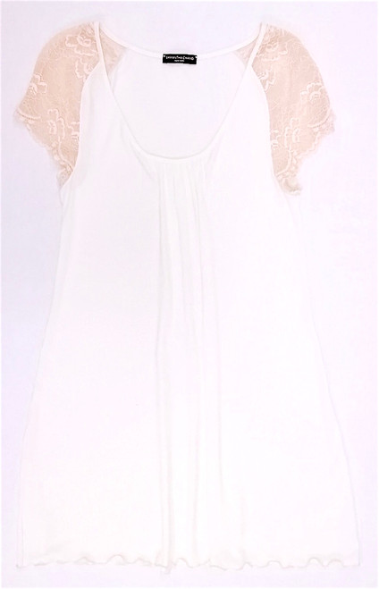 HOME APPAREL CAP SLEEVE NIGHT DRESS IVORY W/ NUDE LACE
