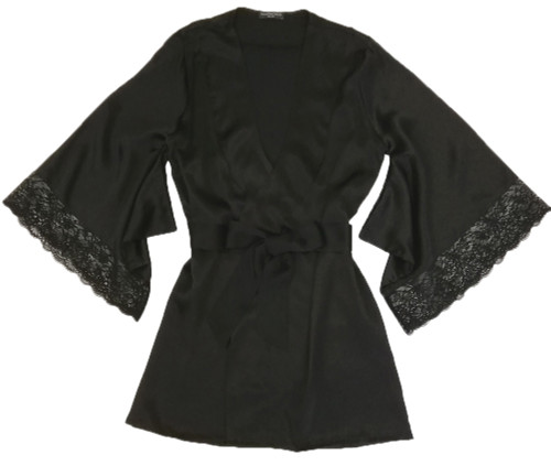 SILK WITH LEAVERS LACE PRINTED YUKATA ROBE WITH LACE TRIM BLACK