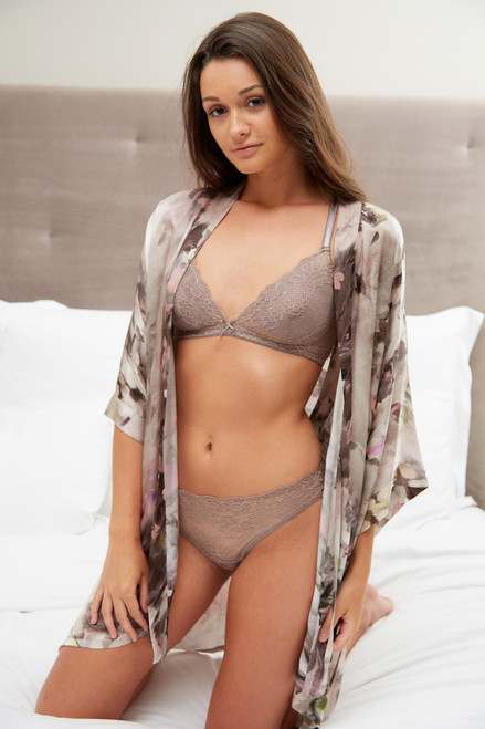 ALL LACE BOUDOIR TRIANGLE BRA W/ REMOVABLE FOAM CUPS MISTY TAUPE