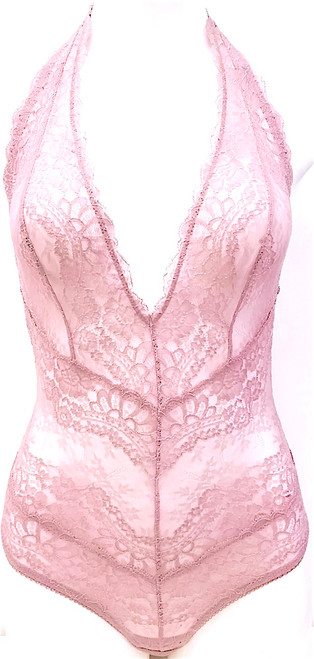 ALL LACE BOUDOIR DEEP PLUNGE HALTER BODYSUIT DUSTY PLUM