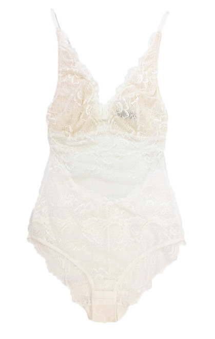 ALL LACE CLASSIC BODYSUIT WHITE
