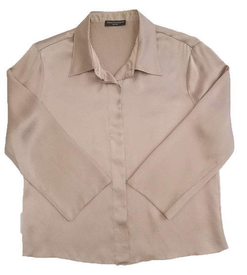 CLASSIC SILK CROPPED PJ SHIRT POWDER NUDE