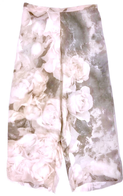 CLASSIC SILK PRINTED CROPPED PJ PANT TENDER ROSE