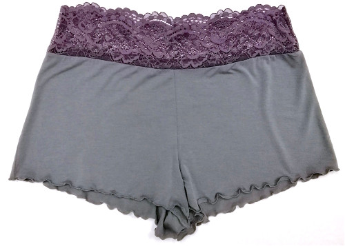 HOME APPAREL LACE WAIST SHORTIE SLATE W/ SIBERIAN LILAC LACE