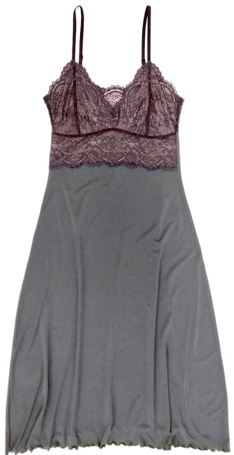 HOME APPAREL LACE CUP BALLERINA GOWN SLATE W/ SIBERIAN LILAC LACE