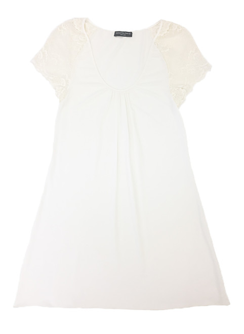 HOME APPAREL CAP SLEEVE NIGHT DRESS IVORY W/ IVORY LACE