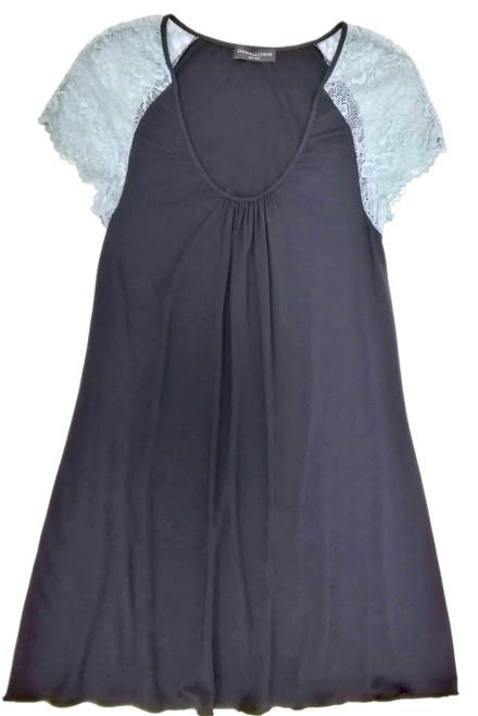 HOME APPAREL CAP SLEEVE NIGHT DRESS DEEP BLUE W/ BLUE SMOKE LACE