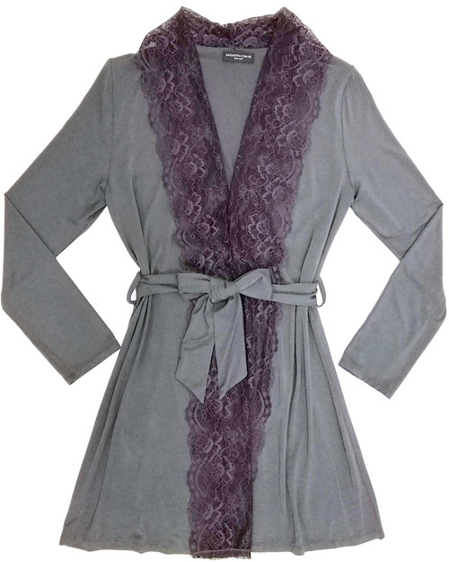 HOME APPAREL LACE FRONT ROBE SLATE W/ SIBERIAN LILAC LACE