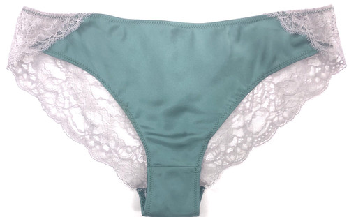 SILK WITH LEAVERS LACE ELOISE BRIEF JADE