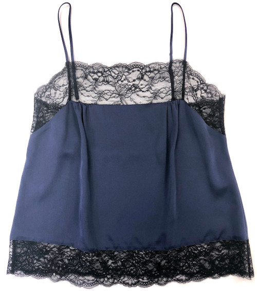 SILK WITH LEAVERS LACE PIA UNDERPINNING MIDNIGHT BLUE