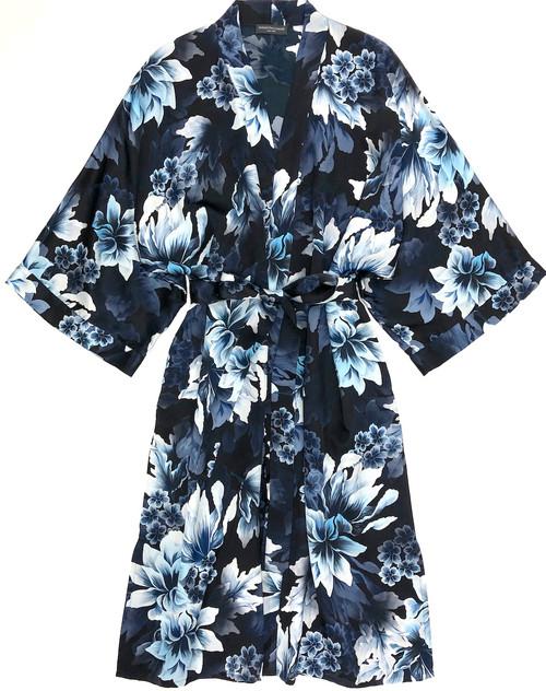 CLASSIC SILK PRINTED KIMONO HEAVENLY BLUE FLORAL