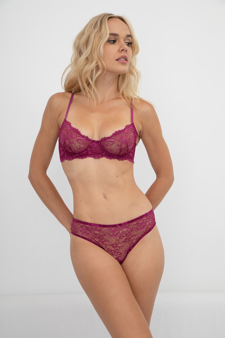 ALL LACE CLASSIC UNDERWIRE BRA GARNET