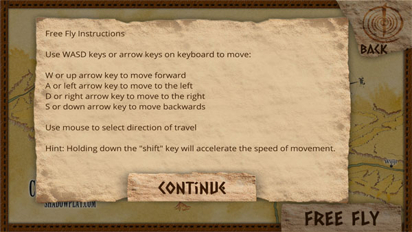 instructions for using the free fly mode in the game