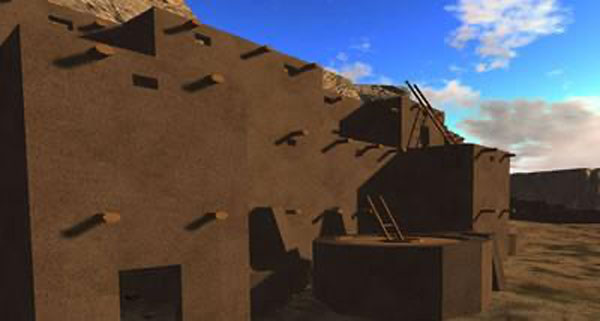 great house in chaco canyon, up close image of texture
