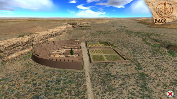 3d model overview of pueblo bonito, completely restored