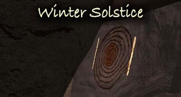 image of chaco canyon's sun dagger at the moment of winter solstice.
