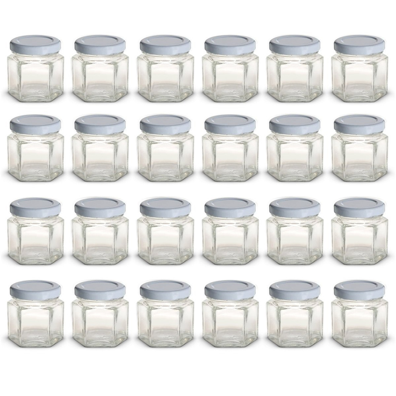 1 5 oz Mini Hexagon Glass Jars with WHITE Lids with Labels, Pack of 24