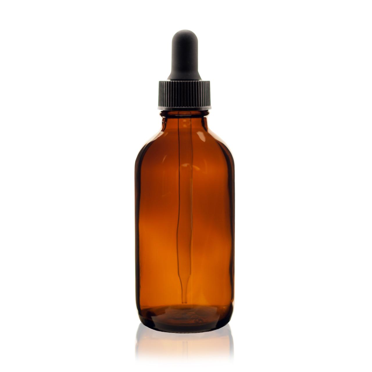 4 oz AMBER Glass Bottle - w/Glass Dropper
