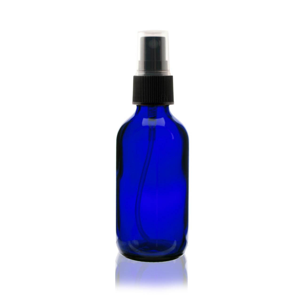 342a7aa31737 2 oz Cobalt BLUE Glass Bottle - w/ Black Fine Mist Sprayer