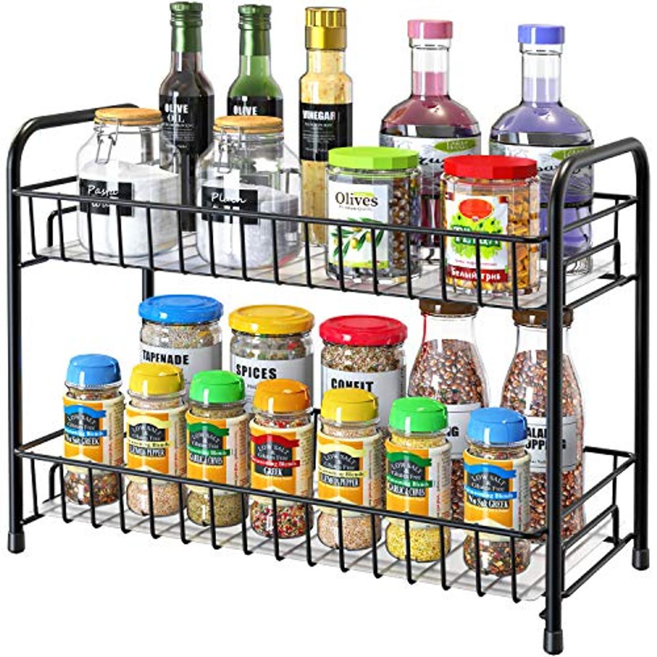 2-Tier Kitchen Countertop Spice Rack Organizer Cabinet Shelves Holder Black