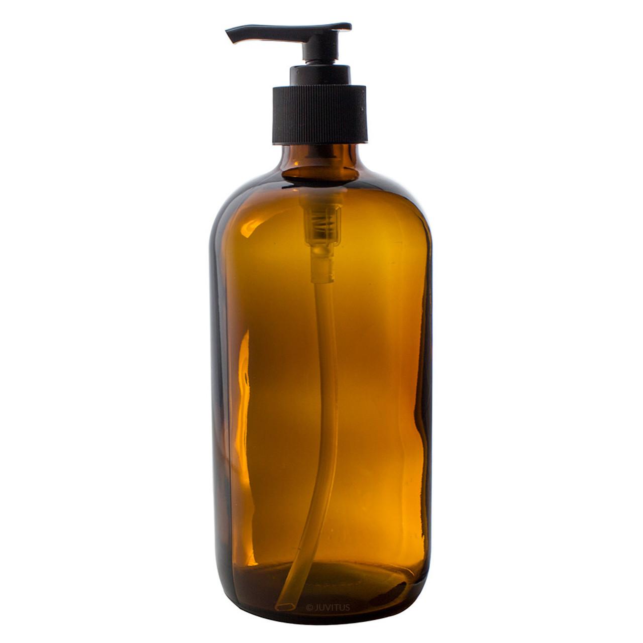 adbf81fea66f 32 oz AMBER Glass Bottle - w/ Lotion Pump - pack of 12
