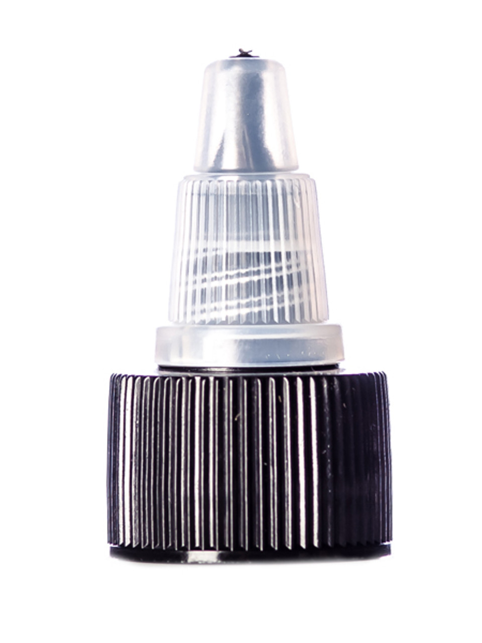 Black Natural colored PP 24-410 ribbed skirt twist-open unlined dispensing  lid