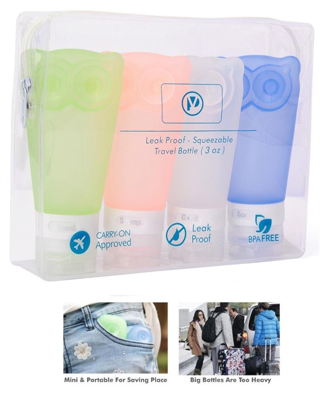 46137fb32308 Travel Bottles Leak Proof Travel Toiletry Silicone Bottles set of 4 pack