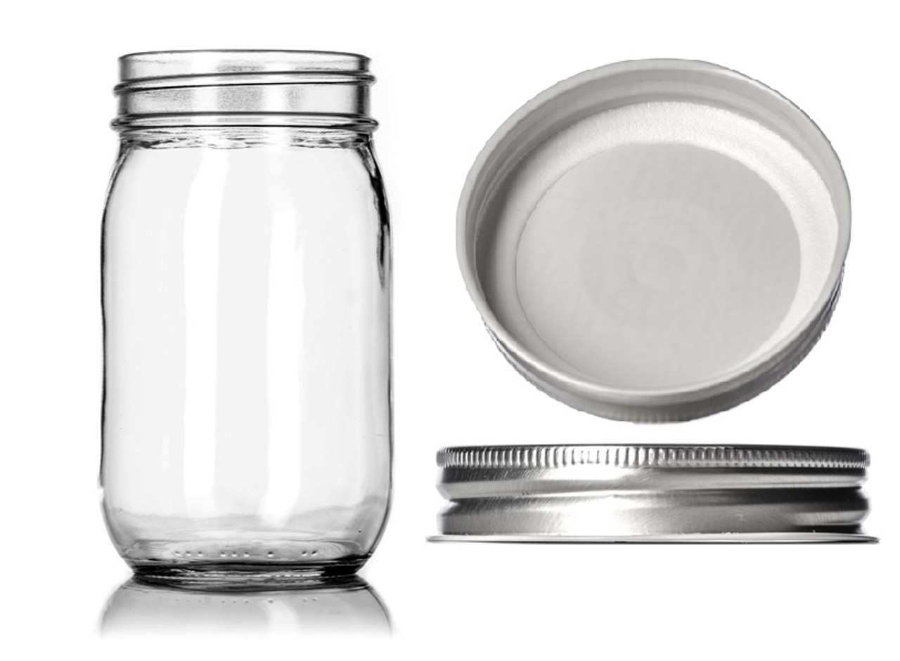 cafe62a8eed6 12 oz clear glass Mason jar with SILVER metal with plastisol liner - pack  of 12