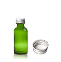 1 oz Green Glass Bottle with Silver aluminum 20-400 lid with foam liner