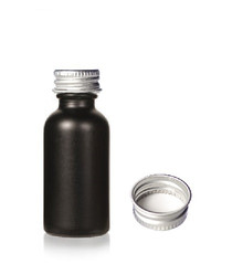1 oz Matt Black -colored clear glass bottle w/ Silver 20-400 lid with foam liner