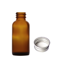1 oz (30ml) AMBER Glass Bottle with Silver 20-400 lid with foam liner