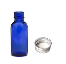1 oz (30ml) BLUE Glass Bottle with Silver 20-400 lid with foam liner