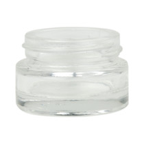 (Case of 200, $0.99 ea) 1/2 oz clear glass cylinder low-profile jar with White Lid 40-400 neck finish Lids