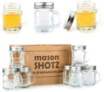 2 oz, Mason Jar Shot Glasses with Handles and Silver Lids (Set of 8)                  Mini Mason Shots Glass