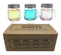 2 oz, Mason Jar Shot Glasses with Handles and Silver Lids (Set of 8)                  Mini Mason Shots Glass