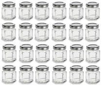 1.5 oz Mini Hexagon Glass Jars with SILVER Lids with Labels, Pack of 24