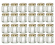 1.5 oz Mini Hexagon Glass Jars with GOLD Lids with Labels, Pack of 24