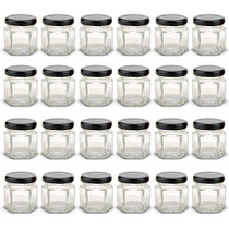 1.5 oz Mini Hexagon Glass Jars with BLACK Lids with Labels, Pack of 24